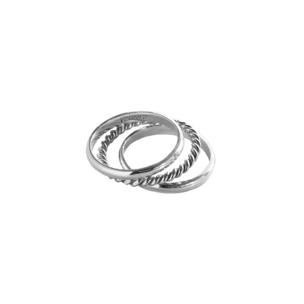 3 Silver Stack Rings Plain and Rope
