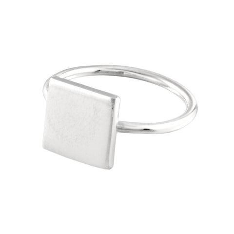Silver square shape ring Ichu