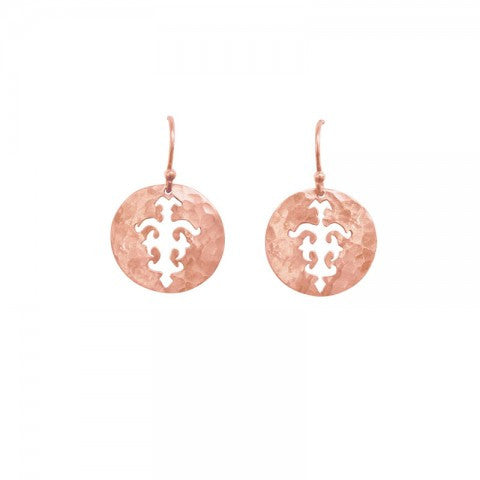 Tolus Disc Charm Hook Earrings Rose Gold