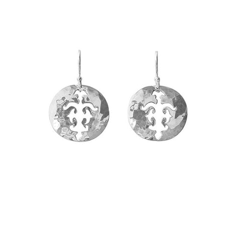 Tolus Disc Charm Hook Earrings in Silver
