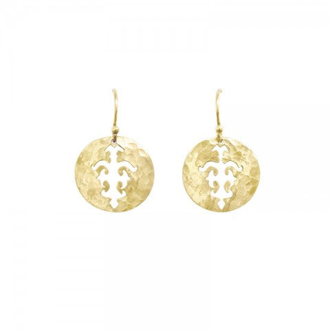 Tolus Disc Charm Hook Earrings in Yellow Gold