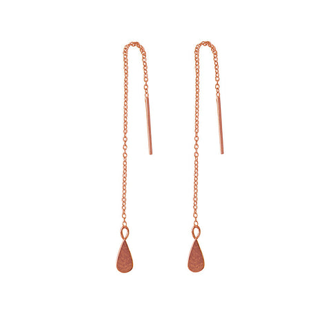 Thread earrings rose gold plate