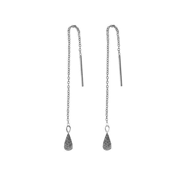 Tear Drop Thread Earrings in Sterling Silver