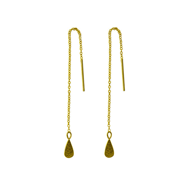 Tear Drop Thread Earrings in 22 kt Yellow Gold