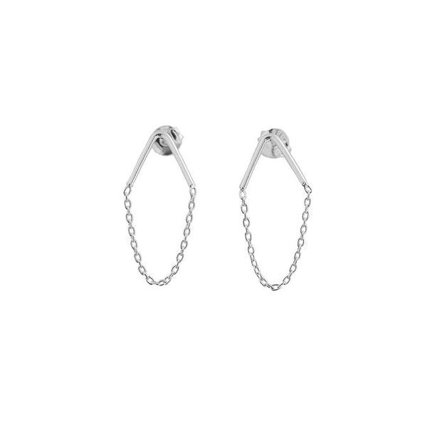 Tiny Triangle Chain Drop Earrings