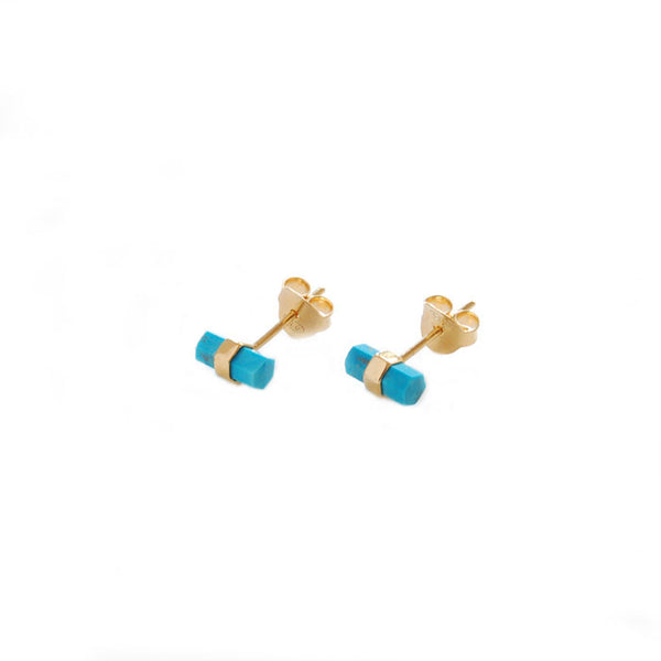 Turquoise Bar Stud Earrings