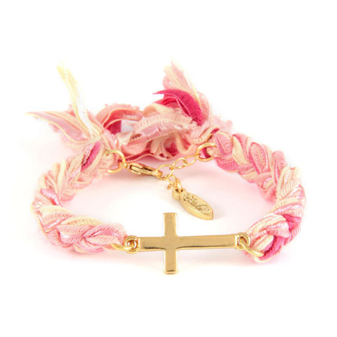 Cross Charm Vintage Ribbon Bracelet