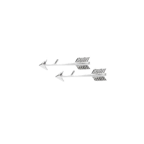 Arrow Stud Earrings in Sterling Silver 925 by Murkani