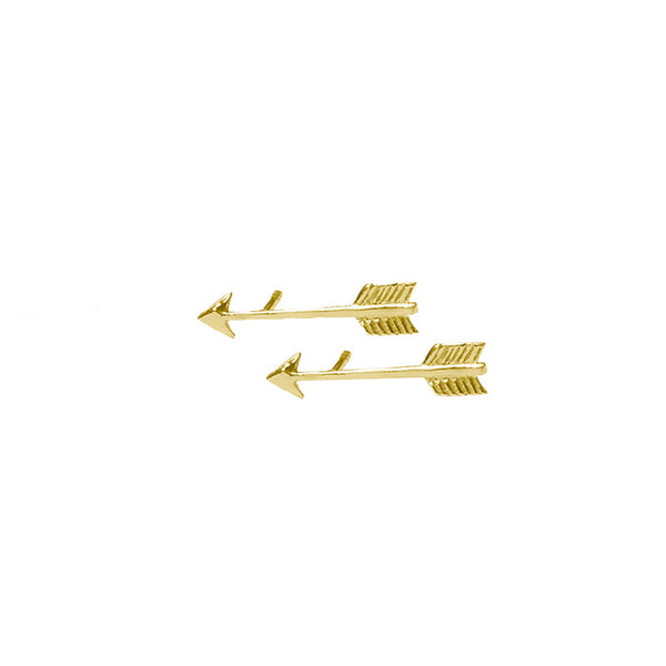 Arrow Stud Earrings in 22 kt gold plated brass