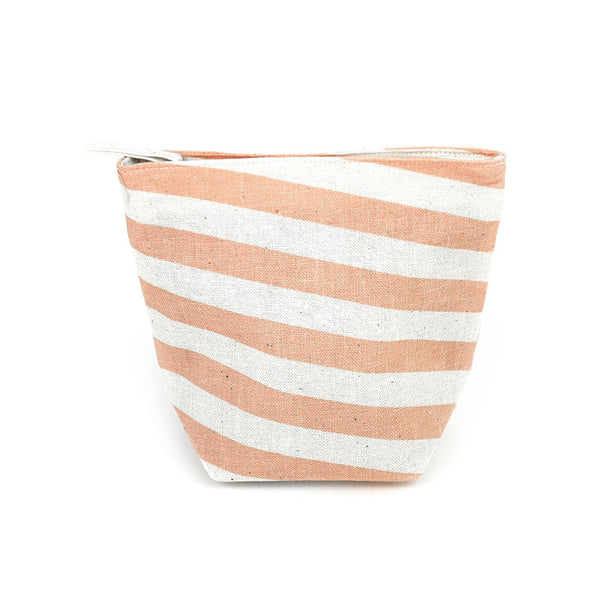 Pastel Pink Slanted Stripes Pouch