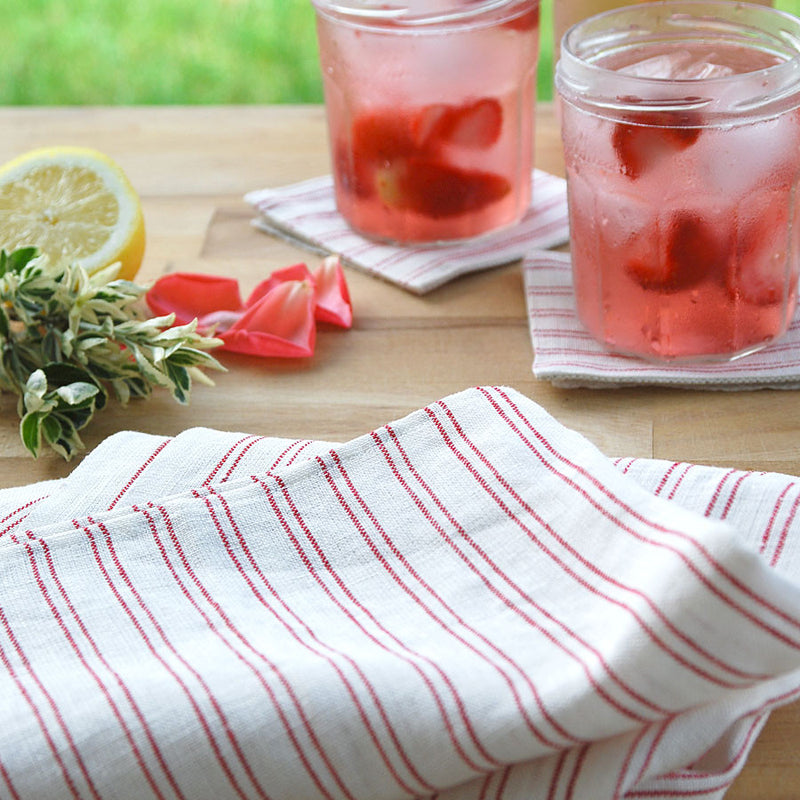 White Tea Towel with Red Stripes
