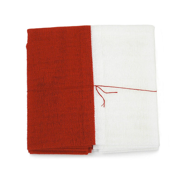 White and Vermilion Tea Towel