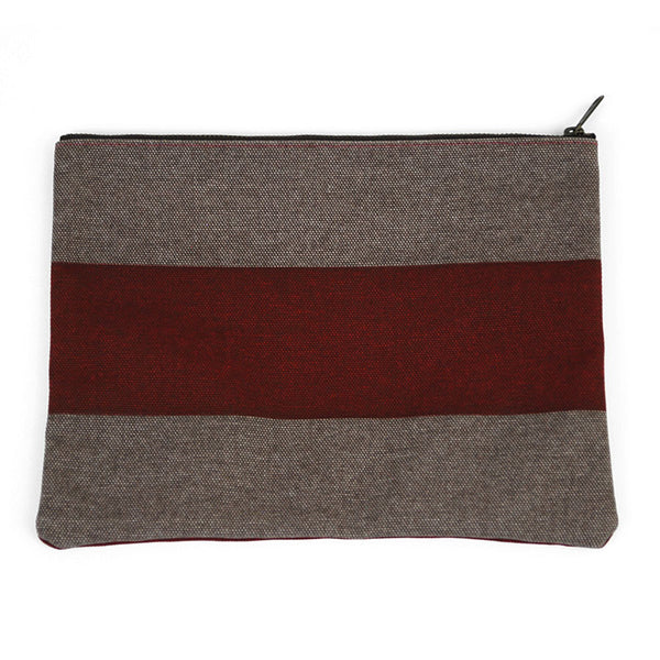Red and Gray Canvas Pouch
