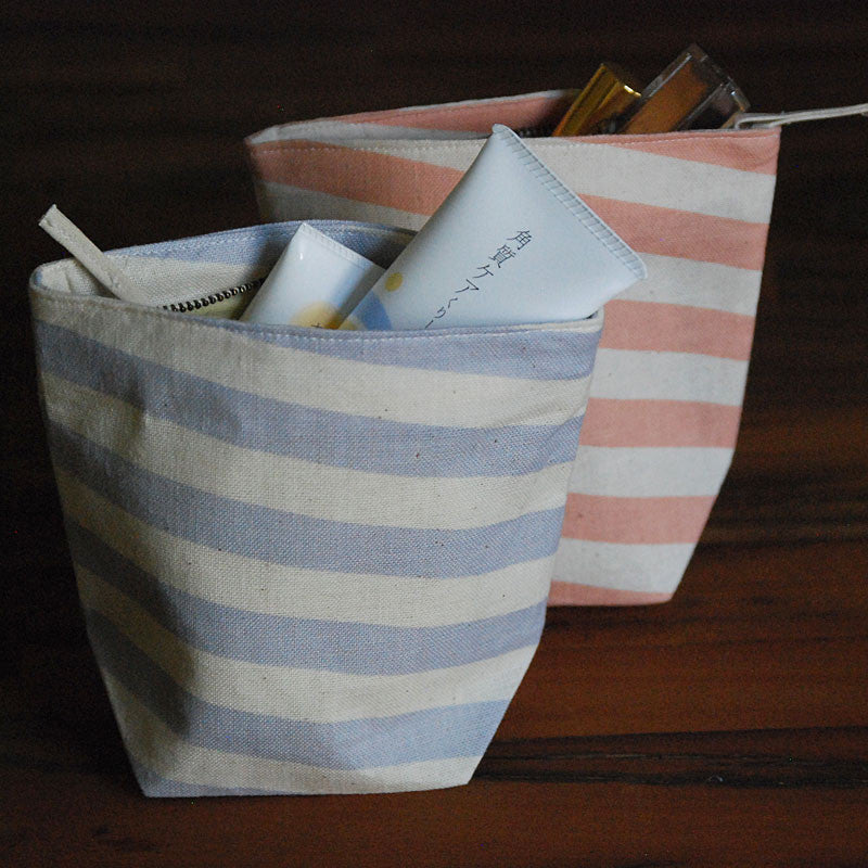 Pastel Blue Slanted Stripes Pouch