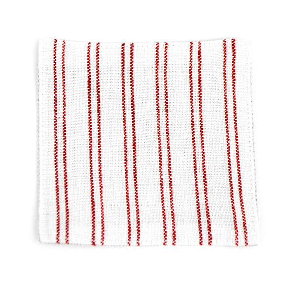 White Coaster with Red Stripes