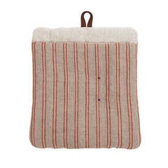 Natural Color Pot Holder with Red Stripes