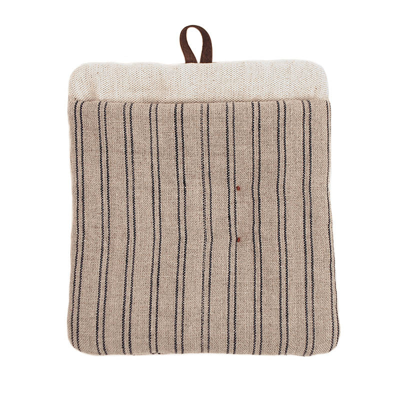 Natural Color Pot Holder with Blue Stripes