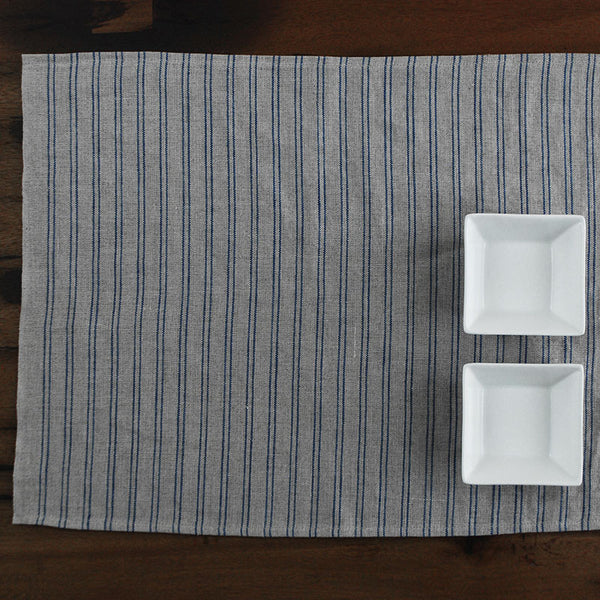 Natural Color Placemat with Blue Stripes