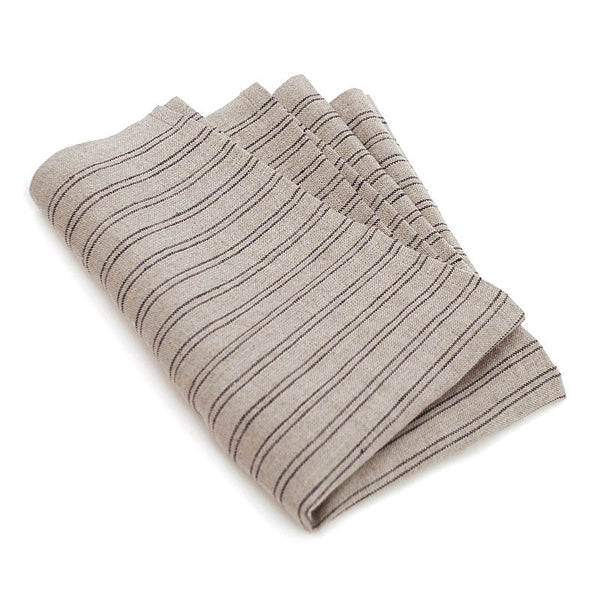 Natural Color Tea Towel with Blue Stripes