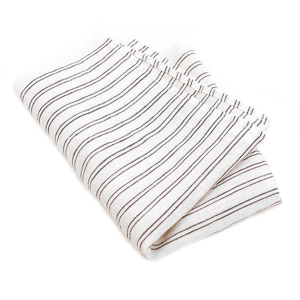 White Tea Towel with Blue Stripes