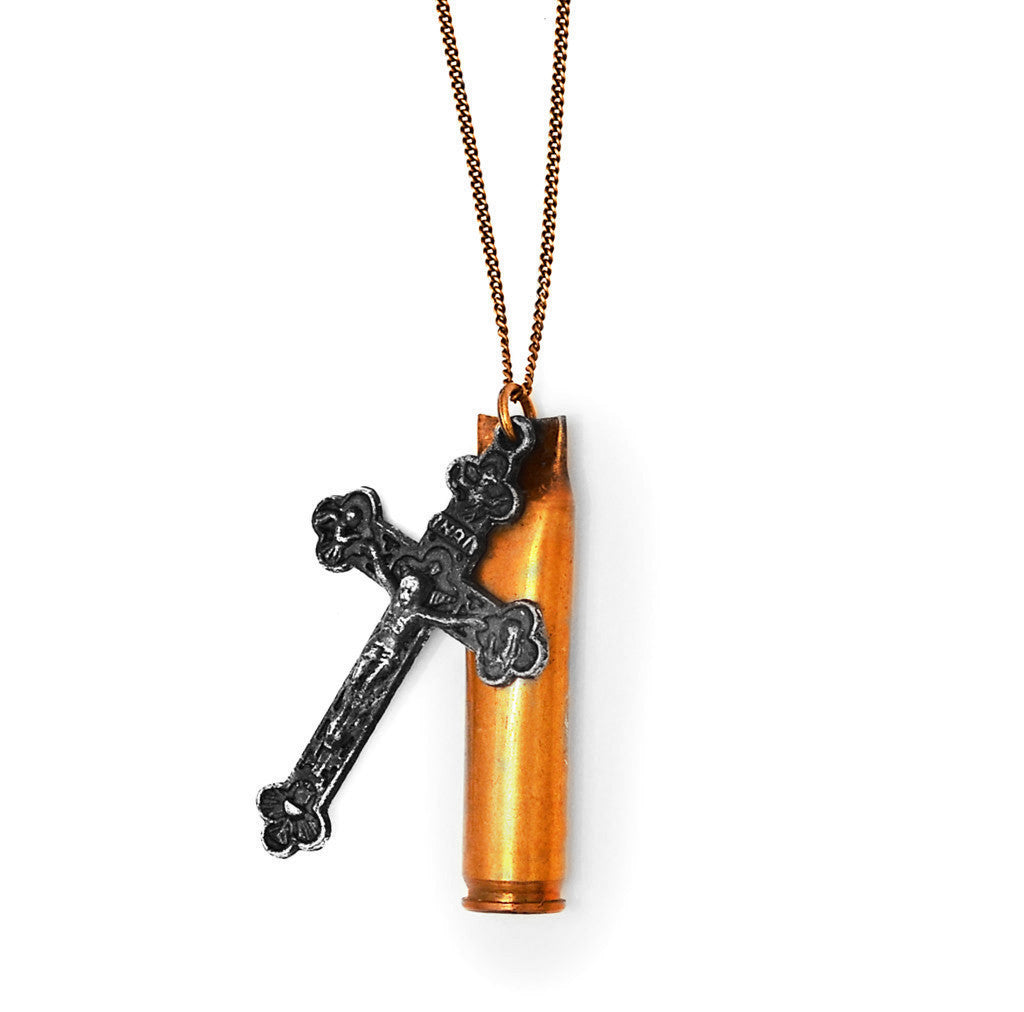 Bullet cross necklace