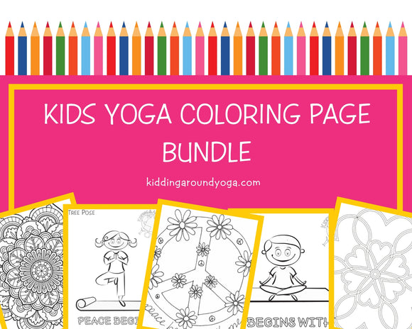 Yoga Coloring Page Bundle | Kids Yoga Coloring Pages | Printable