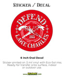 Defend Lake Charles - Oval Sticker / Decal