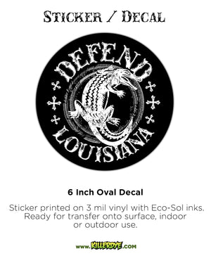 Defend Louisiana w/ Alligator - Oval Sticker / Decal