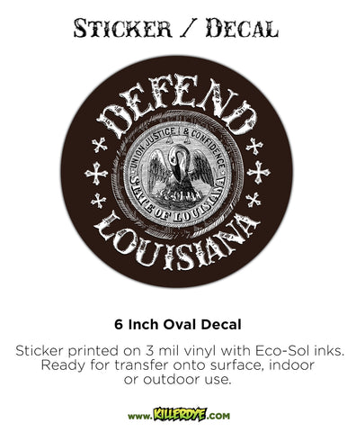 Defend Louisiana - Oval Sticker / Decal