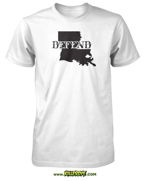 Defend Text across Louisiana State T-Shirt - Mens