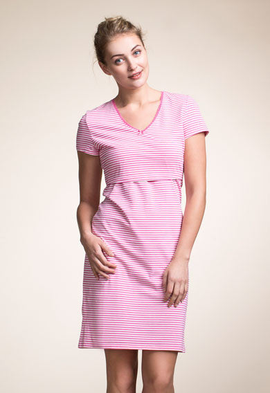 Nursing Nightdress- Off White/Fuchsia