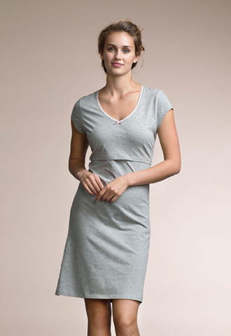 Nursing Nightdress- Grey Melange
