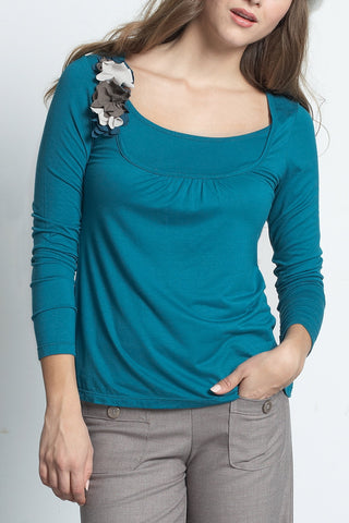 Mothers En Vogue :: Florica Long Sleeve Tee Dusky Tapestry Blue