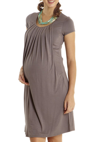 Mothers En Vogue Pleats Made Easy Cobblestone Dress available from NourishingApparel.com