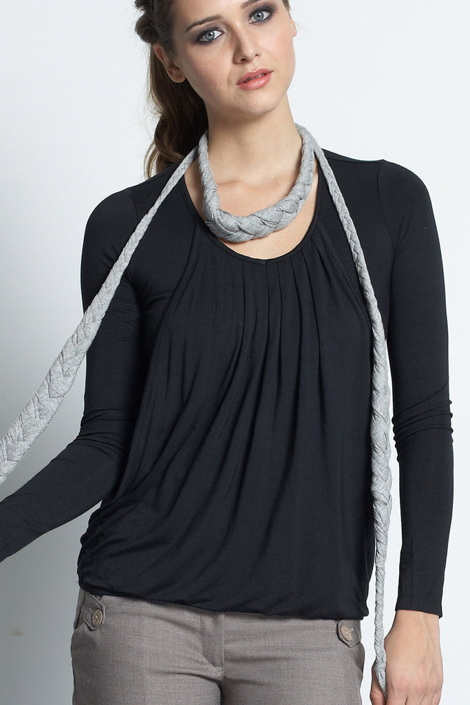 Slouchy Pleated Long Sleeve Top