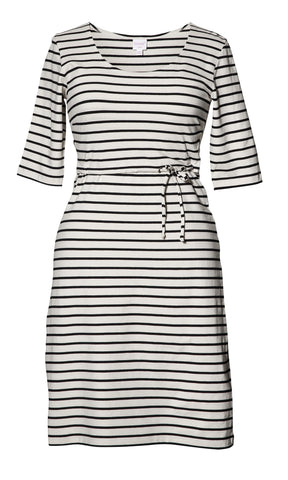 Simone Dress- Black Stripe