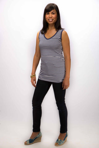 Momzelle :: Striped ruched tank.