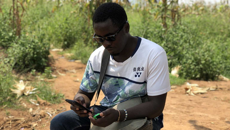 William Butula, Director of Nakivart puts goTenna Mesh to the test in the Rubondo by placing himself over 800 meters away from the second goTenna Mesh user.