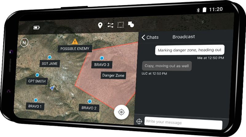 Smartphone displaying gotenna pro app. The image shows the in-app map and messaging interfaces.