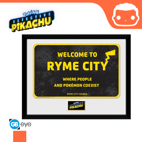 Detective Pikachu - Ryme City - 30 x 40 Framed Collectors Print