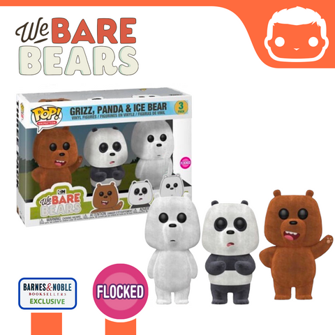 We Bare Bears - Ice Bear, Grizz & Panda Flocked 3 Pack - Barnes & Noble Exclusive [Damaged]