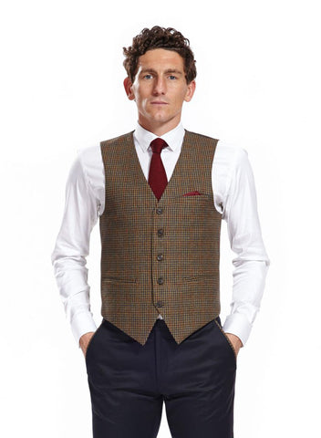 Ring Brown Check Waistcoat with burgundy optional silk pocket square