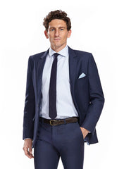 Dale blue blazer with white silk pocket square
