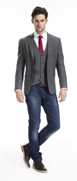 Mens slim fit blazer and jeans