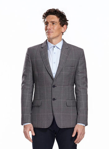 Eaton Quilted Grey Blazer with elbow patches