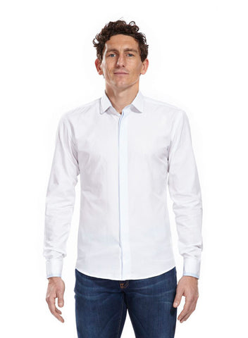 Classic Sidney white shirt with light blue detail