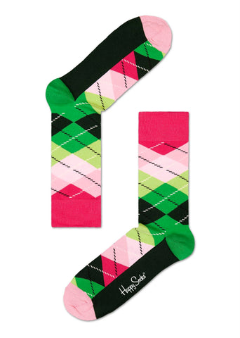 Green and Pink Argyle Happy Socks