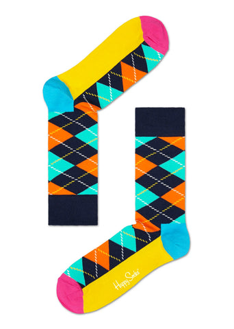Multi-Coloured Argyle Happy Socks