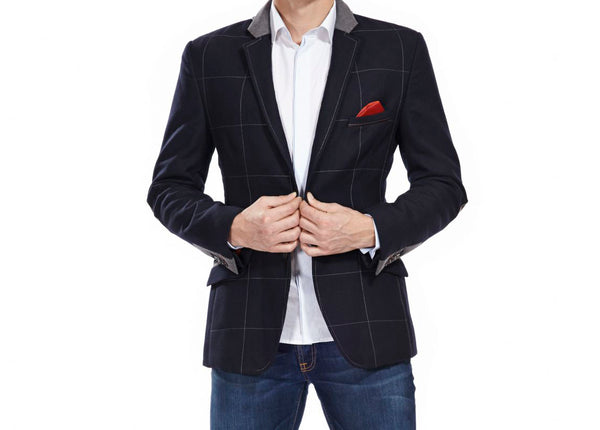 Chess London Navy Quilted Blazer