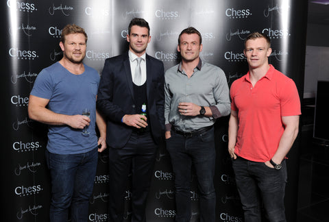 Chess London James Anderson Collection launch event - james Anderson with Mark Cueto, Dan Braid and Dwayne Peel